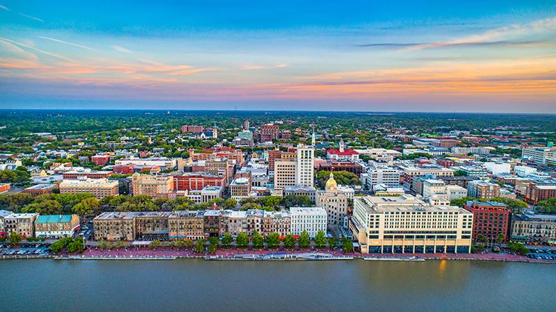 Downtown Savannah Georgia Skyline Aerial
