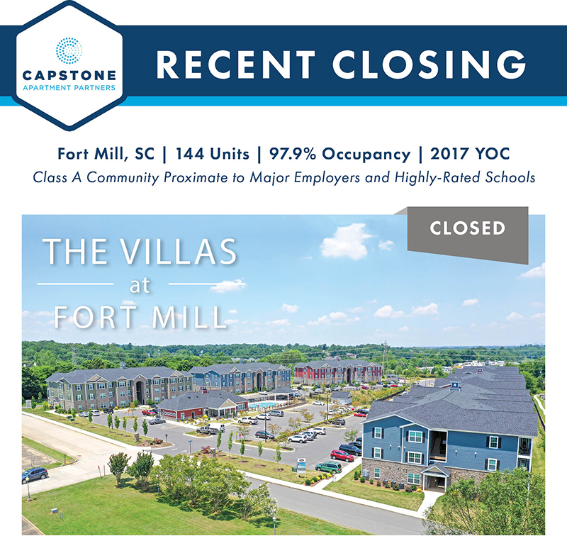 Capstone Closes $27,050,000 Sale of 144-Unit Apartment Asset in Burgeoning Charlotte Suburb