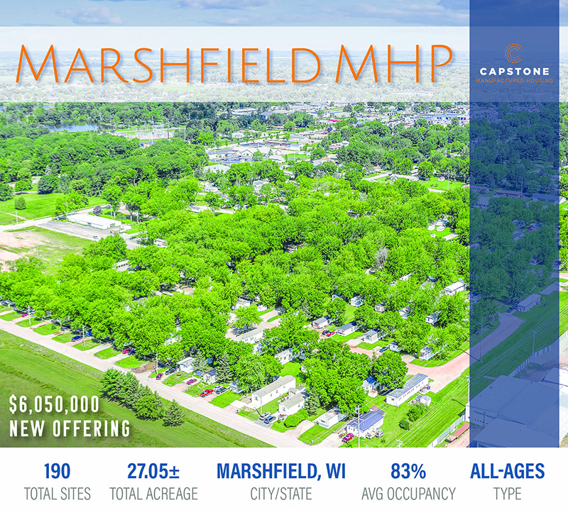 New Offering: 190-Site MH Community in Marshfield, WI | Qualified Opportunity Zone | Public Utilities