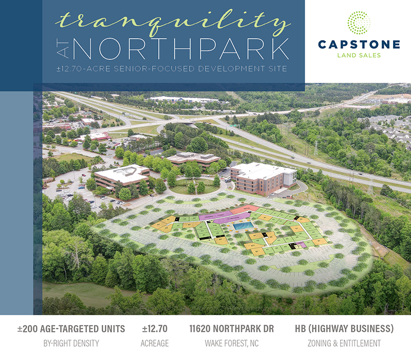 New Offering: 12.70-Acre, By-Right, 55+ Age-Targeted Development Site in Northeast Raleigh   Wake Forest, NC