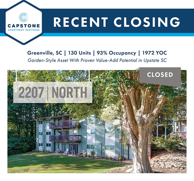 Capstone Closes $13.65 Million Sale of 130-Unit Garden-Style Apartment Community in Greenville, SC