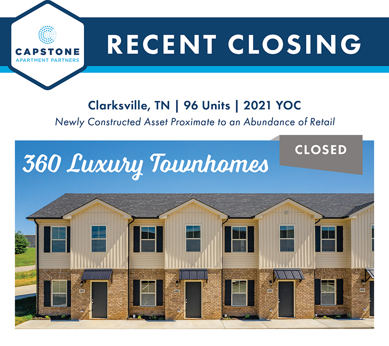 360 Luxury Townhomes closing graphic